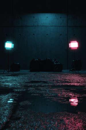 3d rendering of grunge backyard and wet street asphalt at night illuminated from blue and magenta studio lights Stock fotó