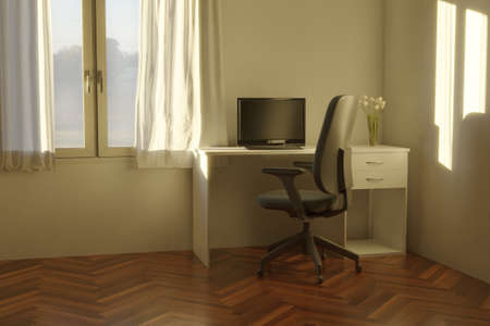 3d rendering of bright home office interior with white desk and laminate floor