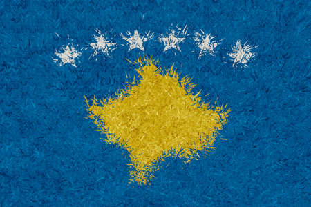 3d rendering of knitted woolly Kosovo flag in front view