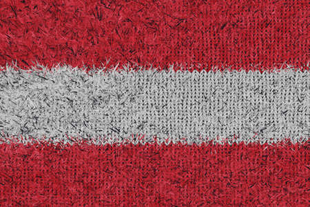 3d rendering of knitted woolly Austrian flag in front view