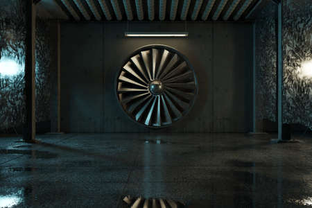 3d rendering of grunge industrial hall with ventilation system and abstract lights