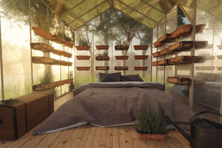 3d rendering of cozy greenhouse with bed and herb plants in the morning light Stock fotó