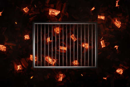 3d rendering of steel cooking grid over glowing chalkcoals and embers