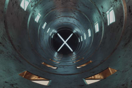 3d rendering of bright round tunnel with illuminated X at the end Stock fotó