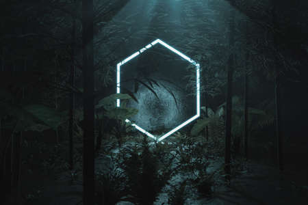 3d rendering of blue lighten hexagon shape surrounded by jungle trees