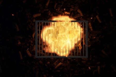 3d rendering of steel cooking grid over bonfire and charkcoals Stock fotó