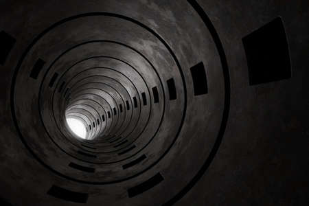 3d rendering of concrete round tunnel with light at the end Stock fotó