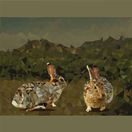brown hare: 2 rabbits polygon low-poly with mountain background. Illustration