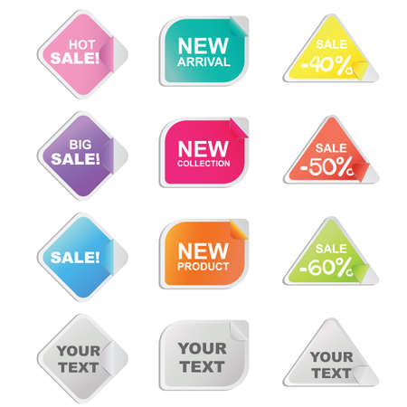 triangle shaped: Set of twelve colorful stickers in diamond, rectangle and triangle shaped for shop and seller. Illustration