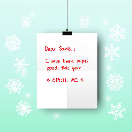 blue gradient: A hanging white paper letter to Santa with blue and light blue gradient background and snowflakes. Illustration