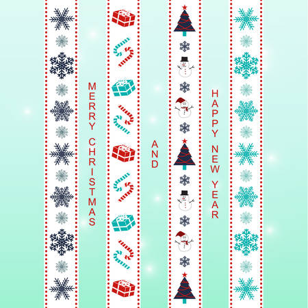 navy blue background: Merry Christmas ribbon washi tape scrapbook items in blue, turquoise, navy blue, white and red colors with light blue gradient background.