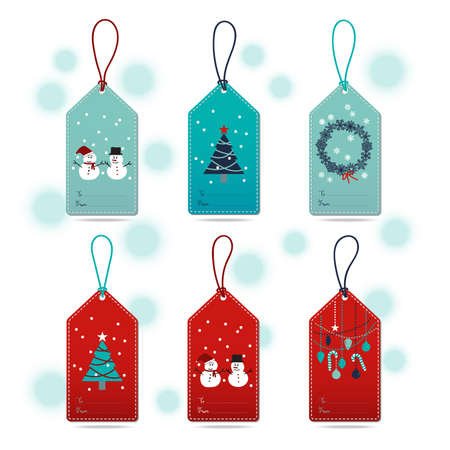 navy blue: Set of Christmas Gift Tags with snowman, snowflakes, Christmas tree, ball and ornament in blue, turquoise, navy blue, white and red colors with light blue gradient dots background.