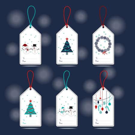 Ensemble de Etiquettes Cadeaux de Noël avec bonhomme de neige, flocons de neige, arbre de Noël, boule et ornement en bleu, turquoise, bleu marine, blanc et rouge avec un fond bleu marine. Banque d'images - 48714668