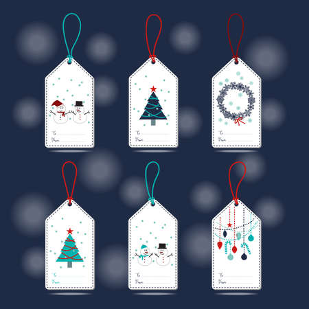 navy blue: Set of Christmas Gift Tags with snowman, snowflakes, Christmas tree, ball and ornament in blue, turquoise, navy blue, white and red colors with navy blue background. Illustration