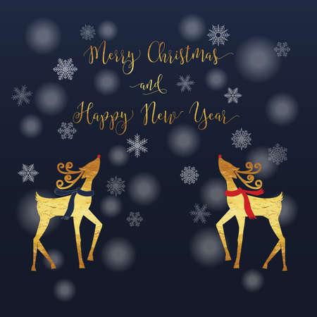 renna: Buon Natale e Felice Anno Nuovo carta di renna con oro i colori lucidi e fiocco di neve, nevicate e della marina sfondo blu sfumato.