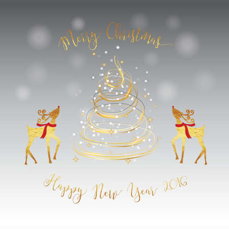 year curve: Merry Christmas New Year golden tree deer silver card with gold shiny curve line colors and snowfall bokeh and glitter star with silver and grey gradient background. Illustration