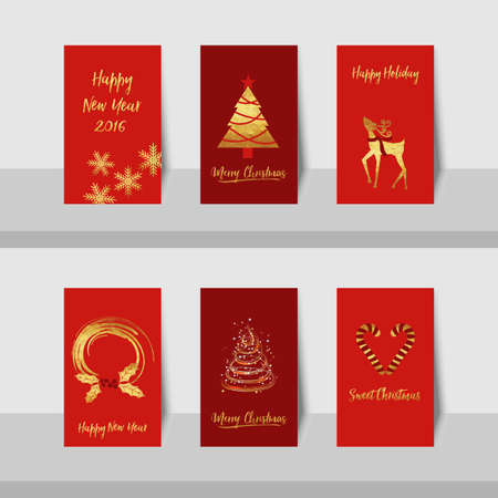 year curve: Merry Christmas New Year golden tree deer small card with gold shiny tree, curve lines, candy canes, reindeer and wreath in gold, red with red background.