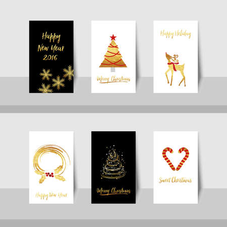 year curve: Merry Christmas New Year golden tree deer small card with gold shiny tree, curve lines, candy canes, reindeer and wreath in gold, red and black or white colors background. Illustration