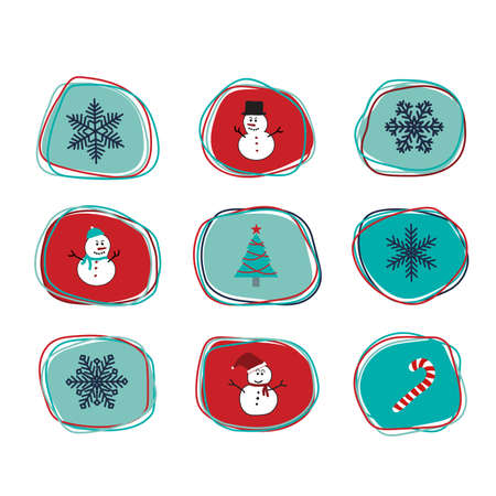 navy blue: A set of Christmas orbits line freeform shape stickers, scrapbook, gift tags with snowman, tree, snowflakes and candy cane in navy blue, blue, red, and turquoise colors with white background.