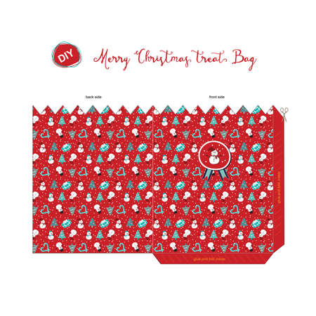 A Merry Christmas DIY do it by yourself treat bag for season greeting with pattern of snowman, tree, candy cane, present in red background. Illustration