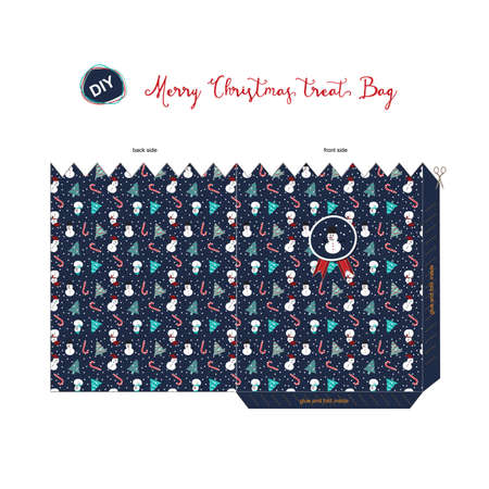 navy blue background: A Merry Christmas DIY do it by yourself treat bag for season greeting with pattern of snowman, tree, candy cane, present in navy blue background. Illustration