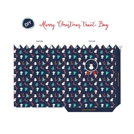 blue navy: Una Feliz Navidad DIY lo hace por s� mismo tratar de bolsa para la temporada de saludo con el patr�n del mu�eco de nieve, �rbol, bast�n de caramelo, presente en fondo azul marino. Vectores