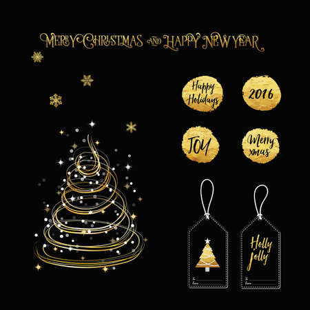 year curve: Merry Christmas New Year golden mix elements, curve line tree, typography, calligraphy text vintage style and tag label with gold foil shiny colors and snowflakes and glitter star in black background.
