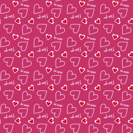 be mine: A Valentine seamless heart and polka dots pattern in red and white with typography text be mine, love you in pink background for Valentines day celebrate. Illustration