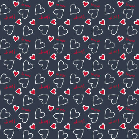 be mine: A Valentine seamless heart and polka dots pattern in red, white and Prussian blue colors with typography text be mine, love you in Prussian blue background for Valentines day celebrate.