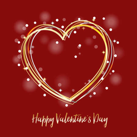 heart shaped: Valentine, Happy Valentines day card curve lines in heart shaped, stars and bokeh with gold shiny colors and red background. Illustration