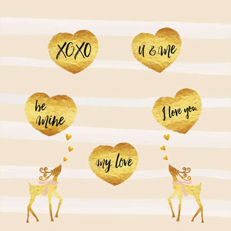 be mine: Valentine, Happy Valentines day cards gold foil texture heart shaped and deer with black text be mine, my love, xoxo and I love you, with gold shiny colors, pink and white stripe line background.