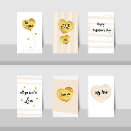 be mine: Set of Valentine, Happy Valentines day small cards gold foil texture heart shaped balloons pink stripe line, with black text be mine, my love, love me and I love you, with gold shiny colors, pink and white background.