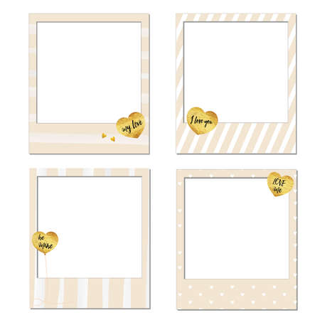 be mine: Set of vector photo frame template, Happy Valentines day  frames gold foil texture heart shaped balloons background pink and white, with black text be mine, my love, love me and I love you.