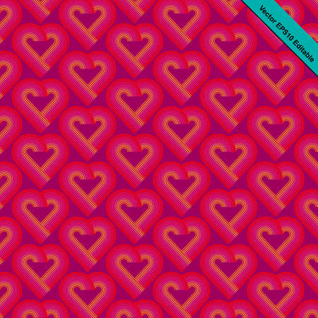 mid century: Heart pattern striped retro funky style with heart shaped in red color gradually change to pink and orange color with purple color background. Illustration