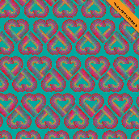 mid century: Heart striped pattern retro funky style with heart shaped in red color gradually change to pink and orange color with blue-green color background.