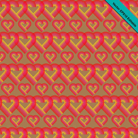 mid century: Heart striped pattern retro funky style with heart shaped in red color gradually change to pink and yellow color with brown color background.