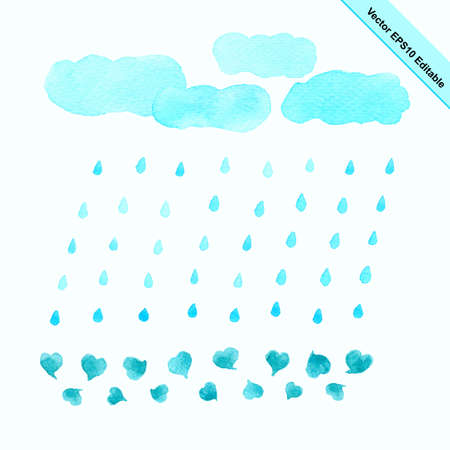 rain cloud: Watercolor rain cloud in blue color vector illustration nature with raindrops shaped, cloud and heart. Illustration