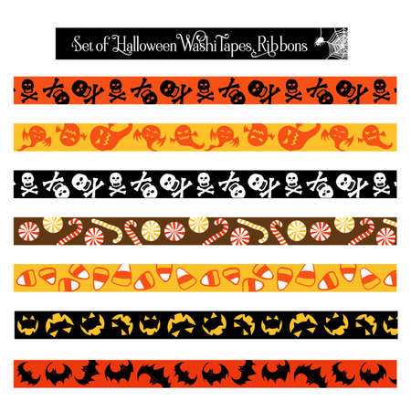 Halloween washi tape scrapbook ribbon items in orange, yellow, black and white colors.