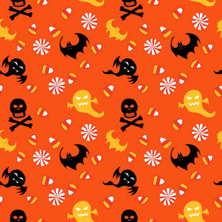 scrapbook paper: Halloween seamless pattern scrapbook paper, gift wrap paper, items in orange, yellow, black and white colors.