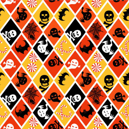 scrapbook paper: Halloween seamless pattern scrapbook paper, gift wrap paper ,items in orange, yellow, black and white colors. Illustration