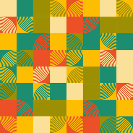 crescent: Retro vintage chic funky stripes crescent with square graphic background in yellow, green, blue, cream and orange colors seamless pattern vector for wallpaper, wrapping, textile, scrapbook, paper.