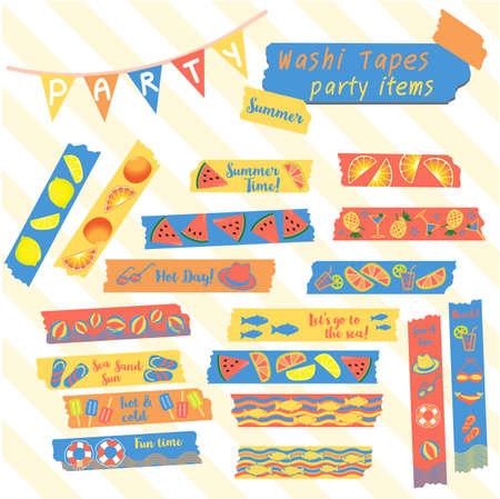 wave hello: Set of washi tapes summer party items cute scrapbook tape with watermelon, lime, orange, fresh colorful fun on the beach.