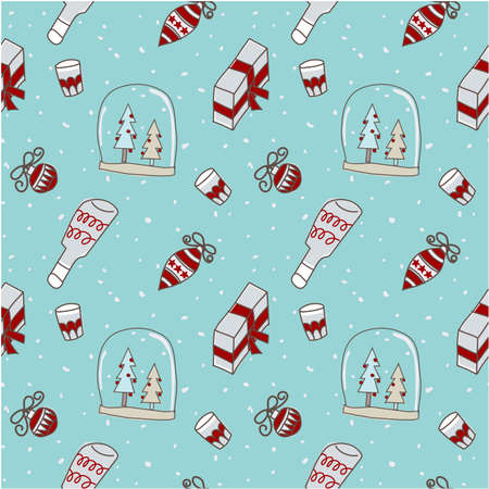 Christmas seamless pattern, Christmas tree, snow globe, gift, Christmas ornament, drink for holly jolly celebration, decorated wallpaper scrapbook wrapping paper for season greeting in brown, red and blue background. Illustration