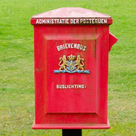 A Dutch old red metal postbox