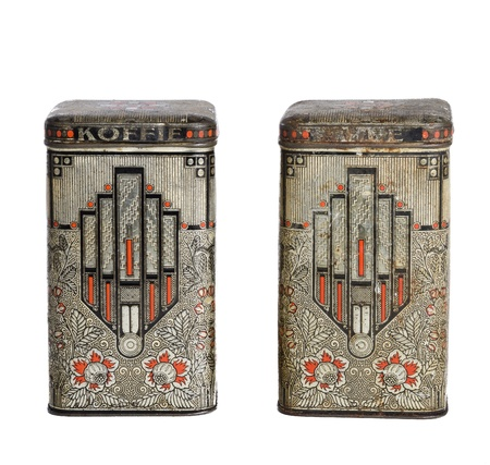Two art deco tin boxes for coffee and tea Imagens
