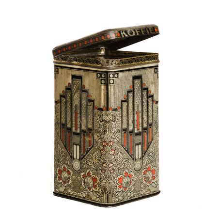 old container: Open empty art deco tin box for coffee and tea Stock Photo