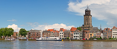 Panoramic view of the medieval Dutch city Deventer with the Great Church of Lebuinesker alongside the IJssel river