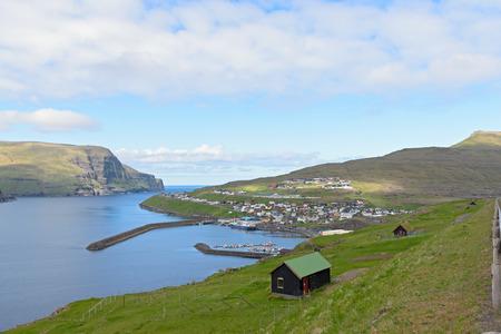 The city and harbour of Eidi, Faroe Islands, Denmark Imagens