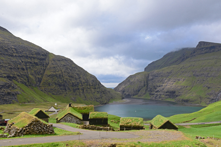 The pictoresque village of Saksun with the turf roofs, Faroe Islands, Denmark