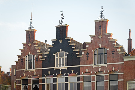 Three historic houses with stepped gable, Dordrecht, Netherlands